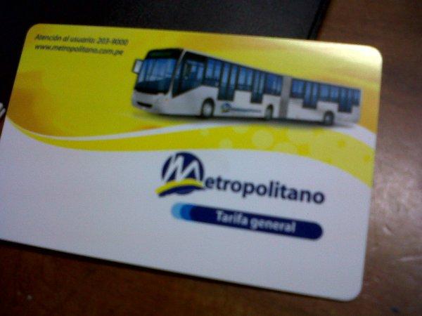 tarjeta del metropolitano